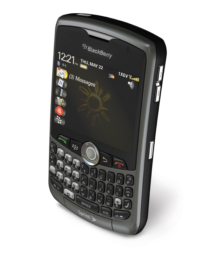 BlackBerry® Curve™ 8330. Sprint - Titanium Top Angle .jpg file | .eps file